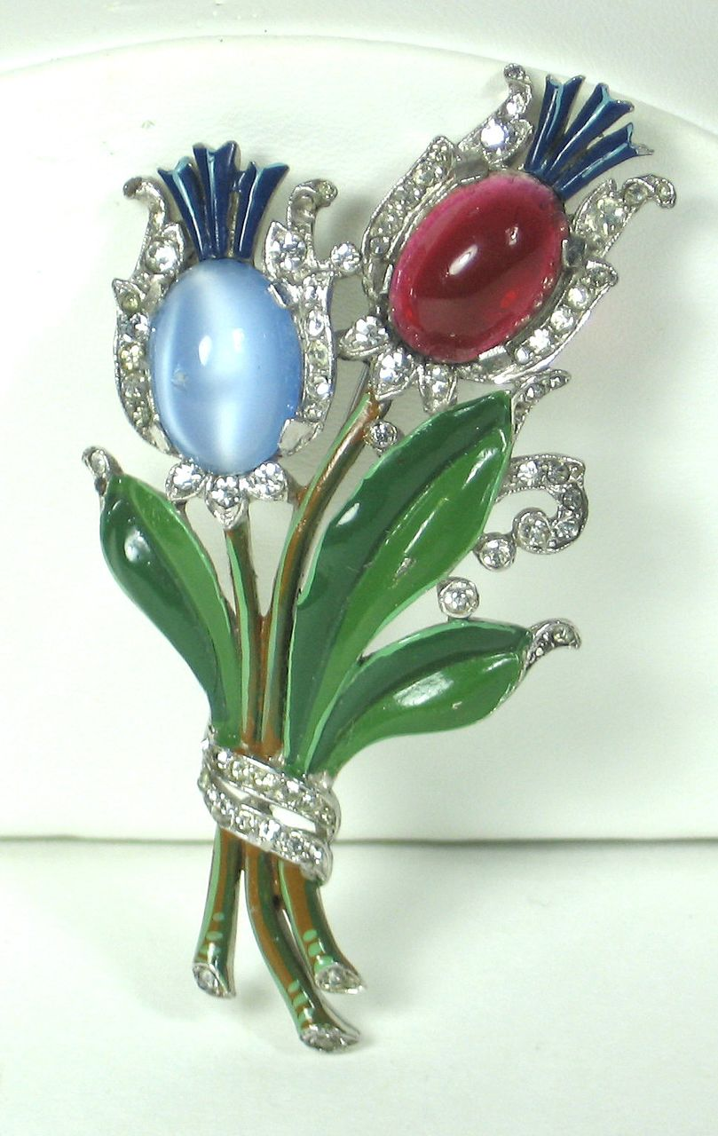 1940s Trifari Moonstone Cabochon Tulips Pin
