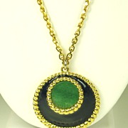 1970s Adolfo for Mazer Op-Art Blue Enamel and Simulated Jade Pendant Necklace