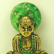 Hattie Carnegie Green Glass Buddha Pin