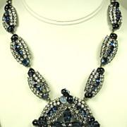 Vintage Hattie Carnegie Blue Glass Cabochon Necklace