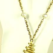 Pauline Rader Imitation Pearl Mystical Oriental Pendant Necklace