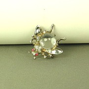 Vintage 1940s Trifari Jelly Belly Sterling Fly Pin