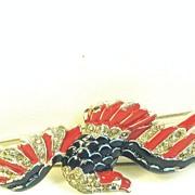1940s Trifari Red White and Blue Enamel Soaring Eagle Pin