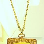 Vintage 1960s Luke Razza Plastic Capricorn Zodiac Pendant Necklace