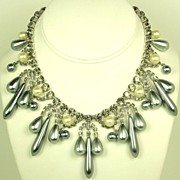Hattie Carnegie Imitation Pearl and Smoky Rhinestone Necklace