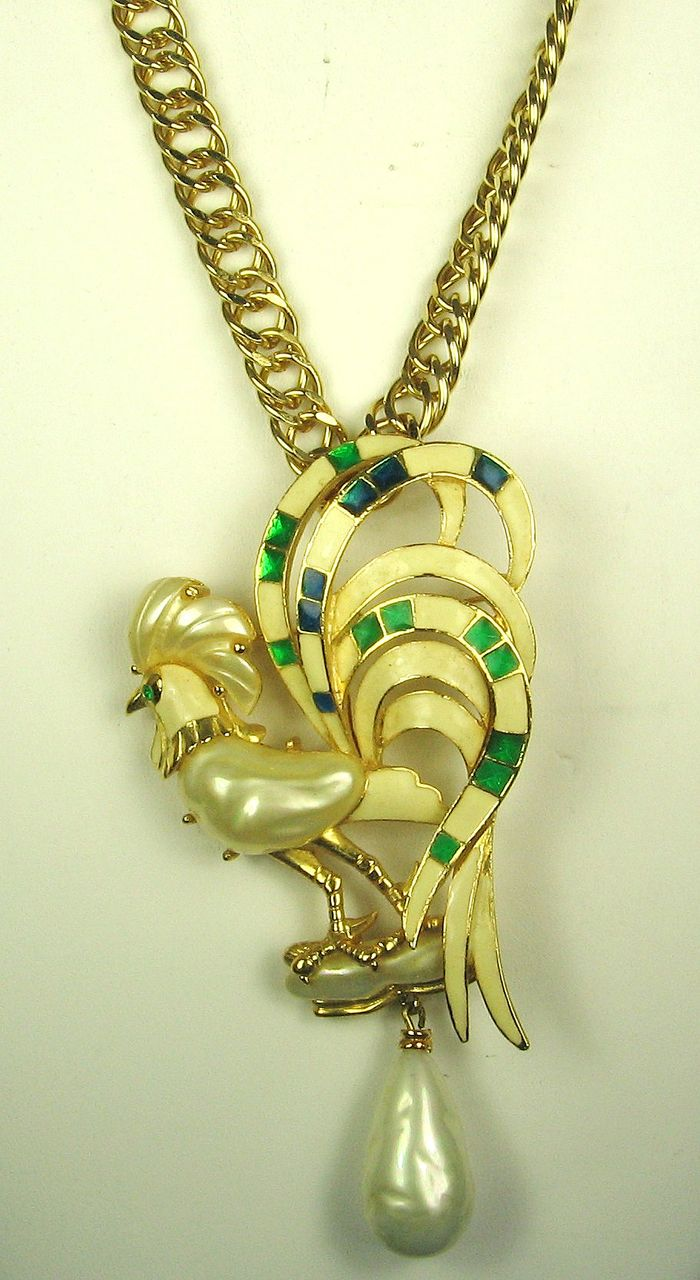 Hattie Carnegie and Kenneth Jay Lane Enamel Imitation Pearl Rooster Pin/Pendant and Chain