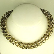 Hattie Carnegie HC Gold Tone Metal Tube Necklace