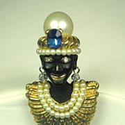 Ciner Imitation Pearl and Enamel India Prince Blackamoor Pin