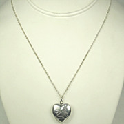 Vintage Signed Japan Heart Shaped Locket Pendant Necklace