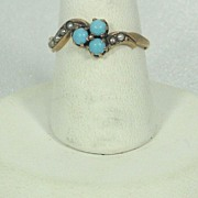 Antique Victorian 10kt Gold, Cultured Pearl, and Turquoise Ring
