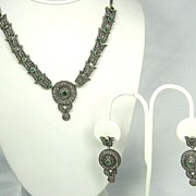 Antique Victorian 14kt Gold, Diamond, & Emerald Necklace & Earrings