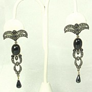 Antique Victorian Black Spinel, Onyx, 14kt Gold, and Diamond Earrings