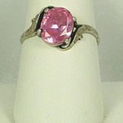 Vintage 925 Sterling and Pink Topaz Ring