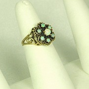 14kt Gold and White Opal Ring