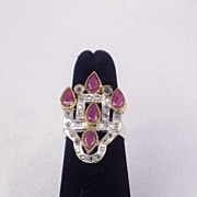 Vintage Estate 18kt Gold and Sterling Silver Ring with Simulated Ruby and White Sapphire Gems