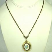 Glass Floral Locket Pendant Necklace