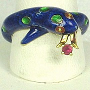 Martine 14kt and 18kt Gold, French Enamel, and Ruby Snake Ring