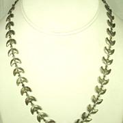 Vintage Gold Tone Silver Germany Leaf Necklace