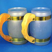 Two 1950s Siesta Ware Glass and Wood Mugs