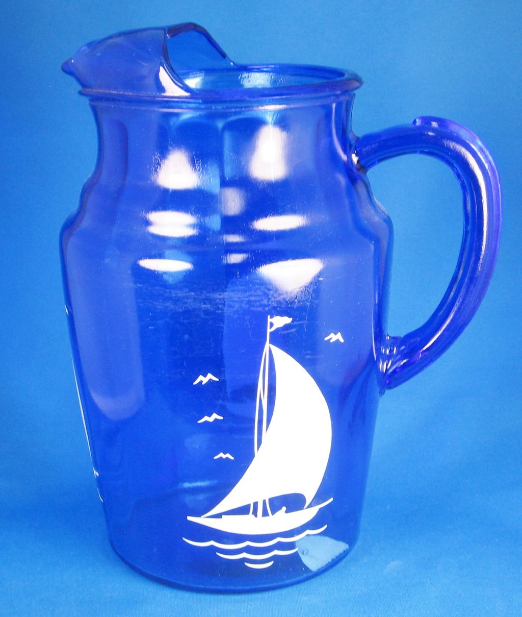 1930s Depression Glass Cobalt Blue Hazel Atlas Sailboat Patterned Pitcher and Glasses