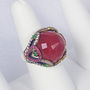 16.12cttw Carnelian, Emerald, Ruby, and Diamond Ring