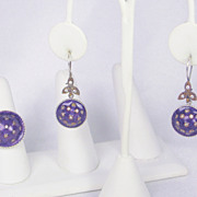 925 Sterling, Purple Enamel, and White Sapphire Ring and Earrings Set