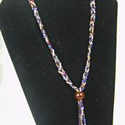 Vintage Multi-Colored Seed Bead Bolo Style Necklace