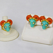 Vintage Hattie Carnegie Coral and Turquoise Thermoplastic Ram Ring and Earrings Set