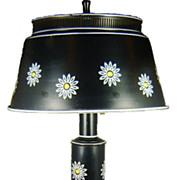 SALE Vintage 1960s Black Tole Painted Lamp with Floral Design