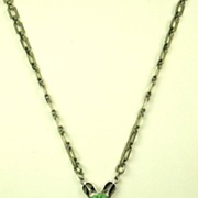 Art Deco Press Molded Glass and Enamel Necklace