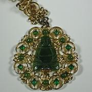 Swoboda Gold Tone Metal Buddha Medallion Necklace