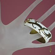 Vintage Trifari White Enamel Clamper Bracelet