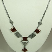Vintage Silver Metal and Square Carnelian Lavaliere Necklace