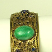 Antique Victorian French Enamel and Green Swirl Glass Bracelet