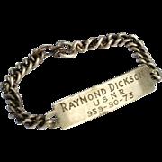 SALE Sterling Silver U.S.N.R. Military ID Bracelet