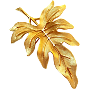 Vintage Crown Trifari Gold Tone Leaf pin.