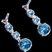 Genuine Diamond Lab Grown Blue Spinel Three Drop Dangle Earrings