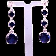 Genuine Diamond Lab Grown Blue Sapphire Three Drop Dangle Earrings