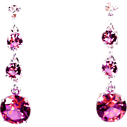 Genuine Diamond Lab Grown Pink Tourmaline Three Drop Dangle Earrings