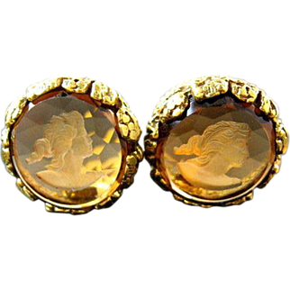 SALE Vintage Glass Intaglio Cameo clip back Earrings