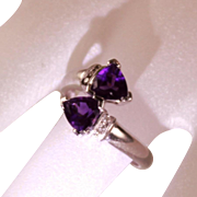 Vintage 14 Karat White Gold Diamond Amethyst Bypass Right Hand Ladies Dress  Ring