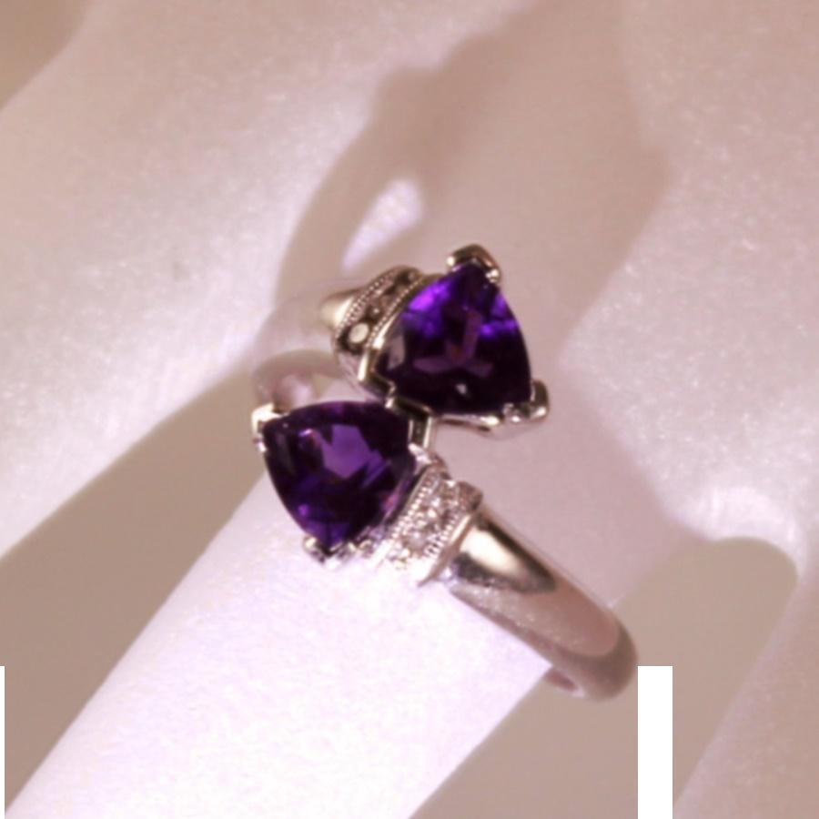 Vintage 14 Karat White Gold Diamond Amethyst Bypass Right Hand Ladies Dress  Ring
