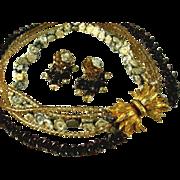 Vintage Multi Strand Porcelain Flower Necklace Earring Set Signed