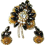 Vintage Juliana D&E Hematite Gold Filigree Brooch Earring Set