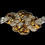 Vintage Coro Duette Double Camellia Pave Rhinestone Pin Clip Circa 1920's-50's
