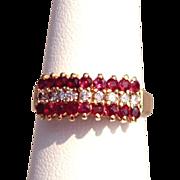 Estate 14 Karat Yellow Gold Diamond Ruby Mid Century Cocktail Ring Fine Used Jewelry