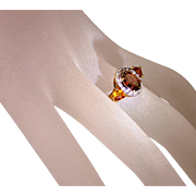 Vintage 10 Karat Two Tone Gold Bicolor Tourmaline Diamond Citrine Ladies Dinner Ring