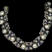 Vintage Vendome Mid Century Faux Sapphire Pearl Necklace
