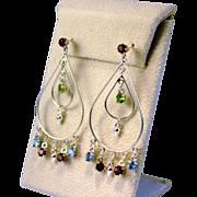Large Double Hoop Dangling Multi Gemstone Earrings