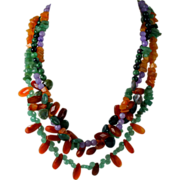 Multi Gemstone Triple Strand Bead Necklace